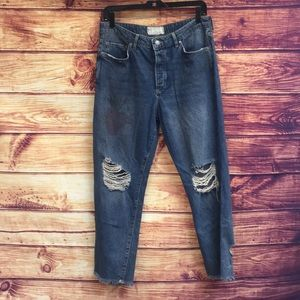 Free People Ripped High Rise Faded Heart Jeans